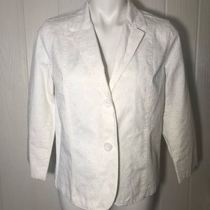 White Denim Eyelet Blazer Studio Works 10P Petite